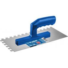 Гладилка нержавеющая зубчатая, 6х6 мм ЗУБР ЭКСПЕРТ с пластиковой ручкой, 130х280 0804-06