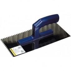 Гладилка нержавеющая зубчатая, 8х8 мм ЗУБР ЭКСПЕРТ с пластиковой ручкой, 0804-08
