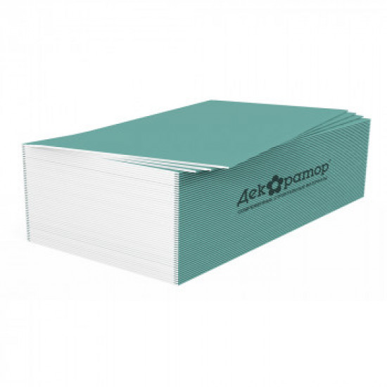 Гипсокартонный лист Влагостойкий 12,5мм ГКЛВ Декоратор 1,2х3м ГОСТ 32614-2012