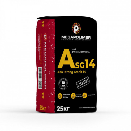 Клей Alfa Strong Granit 14 для керамогранита C2 TE Megapolimer 25кг