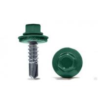 Саморез кровельный 5,5х25 мм RAL 6005 Тёмно - зелёный (Бита 8мм)